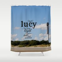 lucy Shower Curtains featuring Lucy by KimberosePhotography