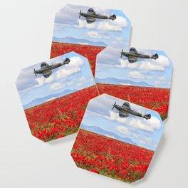World War II Supermarine spitfire fighter plane flying over poppy field Coaster