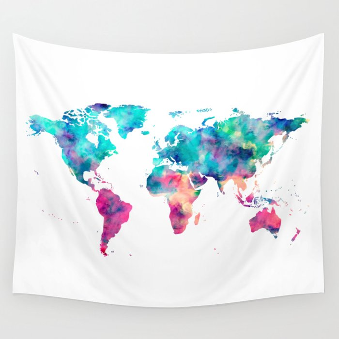 World Map Turquoise Pink Blue Green Wall Tapestry By