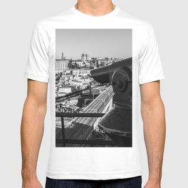 A coin operated scope and the Porto Cityscape, Porto, Portugal T-shirt