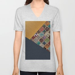N11 - Vintage Traditional Moroccan Artwork Mixed with Modern Colored Touch. Unisex V-Neck