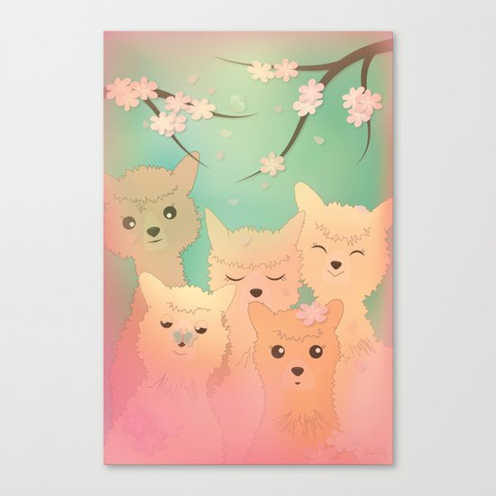 Alpaca Family II - Mint Green Spring Cherry Blossom Background Canvas Print