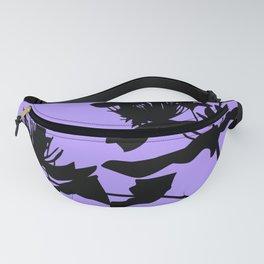 Black Flower Silhouette On Purple Background Fanny Pack