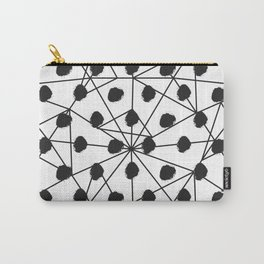 Geometrical black white watercolor polka dots Carry-All Pouch