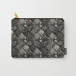 Faux Patchwork Quilting - Black Carry-All Pouch