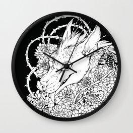 Chupacabra en las flores Wall Clock