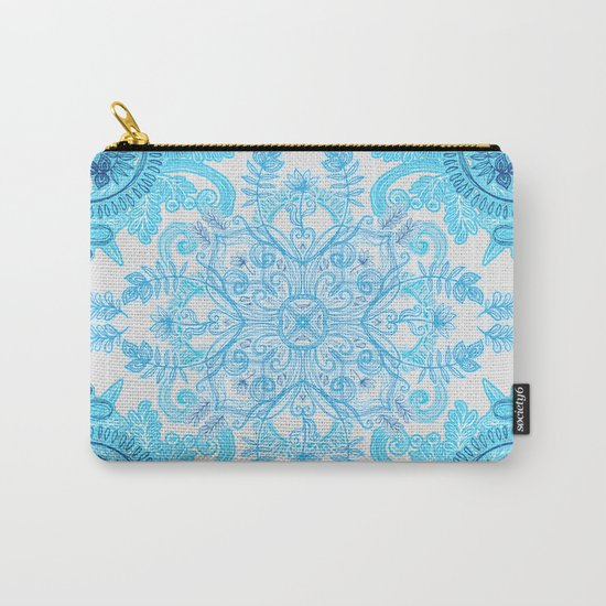Symmetrical Pattern in Blue and Turquoise Carry-All Pouch