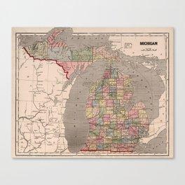 Vintage Map of Michigan (1844) Canvas Print