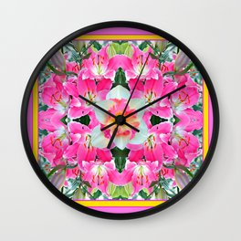 PINK & WHITE SPRING FLOWER GARDEN Wall Clock