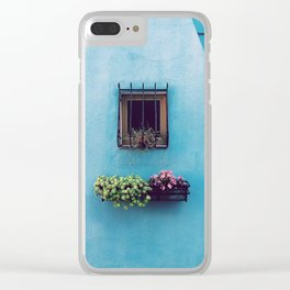 Blue window - arichitecture photography Clear iPhone Case