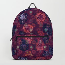 Lotus flower - fire on mulberry woodblock print style pattern Backpack