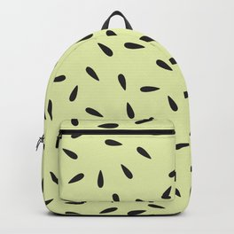 Watermelon Seeds on Pastel Yellow Background Backpack
