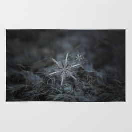 Real snowflake photo - Stars in my pocket like grains of sand Rug