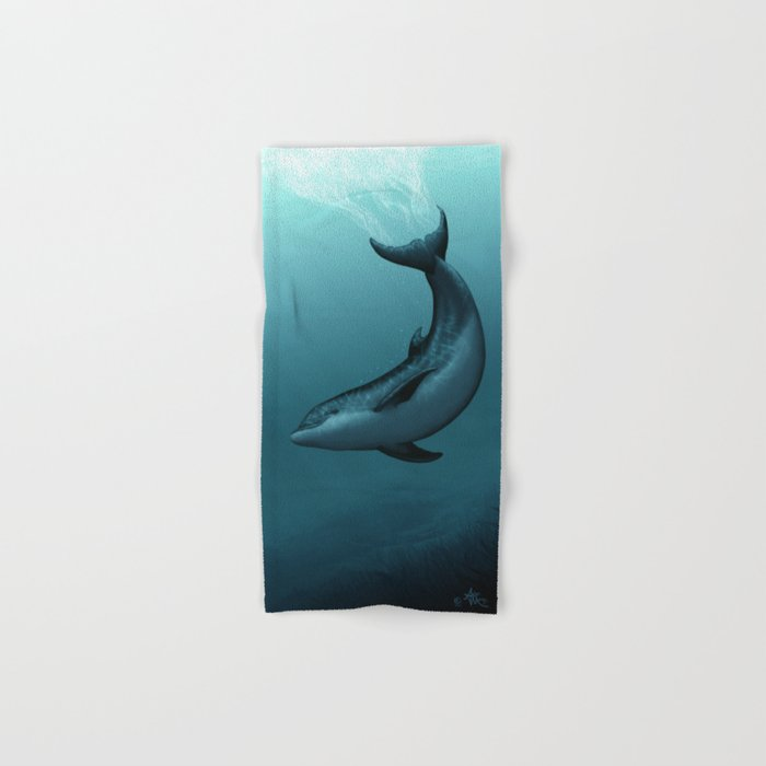 """Siren of the Blue Lagoon"" by Amber Marine ~ Dolphin Art, Digital Painting, (Copyright 2015) Hand & Bath Towel"