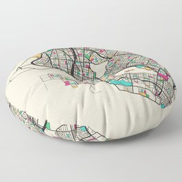 Colorful City Maps: Oakland, California Floor Pillow
