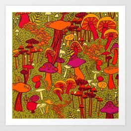 Mushrooms in the Forest Art Print