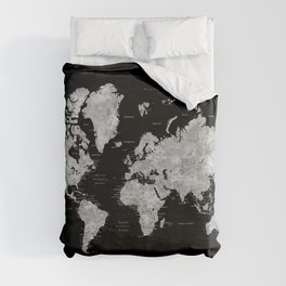 Black and grey watercolor world map with cities Duvet Cover
