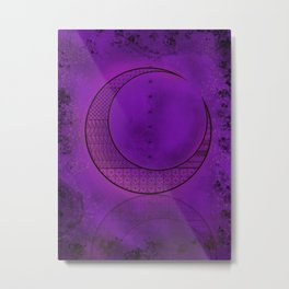 Purple Celtic Moon Metal Print