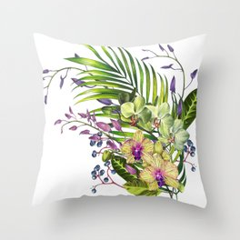 Bouquet, Orchid, Bud, Leaf Clipart, watercolor, handpainted, floral, flower, design, style, troical Throw Pillow