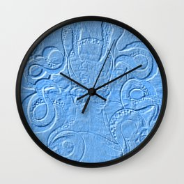 Blue Octopus Sand Drawing Illusion Pattern Wall Clock