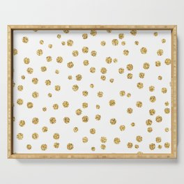 Gold glitter confetti on white - Metal gold dots Serving Tray