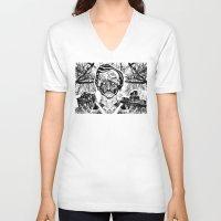 poe V-neck T-shirts featuring Poe by Theo Szczepanski