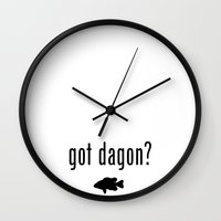 lovecraft Wall Clocks featuring Lovecraft Print Necronomicon Dagon Innsmouth by Nikki L.