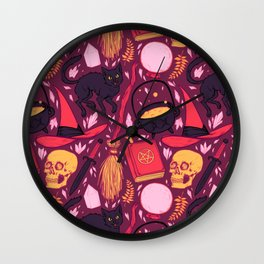 Witch Supplies in Wine Wall Clock