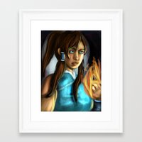 the legend of korra Framed Art Prints featuring korra by Rowena White