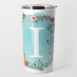 Personalized Monogram Initial Letter I Blue Watercolor Flower Wreath Artwork Travel Mug