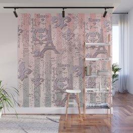 Blushing Paris Pattern Wall Mural