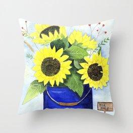 Watercolor sunflower bouquet in bucket Throw Pillow