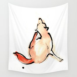 Watercolour and Ink Print of a British Fox Wall Tapestry
