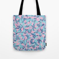 sylvia plath Tote Bags featuring Sylvia by Leah Moloney