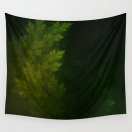 Beautiful Fractal Pines in the Misty Spring Night Wall Tapestry