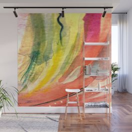 Lillies: a colorful, vibrant, neon, abstract piece with yellow, orange, and green Wall Mural