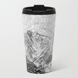 Child on the rock - Black ink Travel Mug