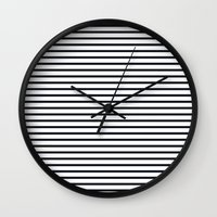 ysl Wall Clocks featuring Sailor Stripes Black & White by Julie's Fabrics & Thingummies