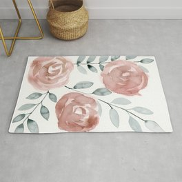 Antique Roses, Peach, Pink, Blush Watercolor Flowers Rug
