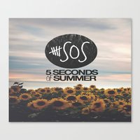 5 seconds of summer Canvas Prints featuring 5 seconds of summer sunflowers by Rose
