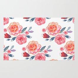 Pink Watercolor Floral Pattern Rug