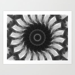 Gray Kaleidoscope Art 8 Highlighted Art Print