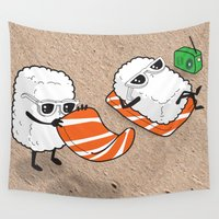 sushi Wall Tapestries featuring Sushi-sun by Ale Ibanez