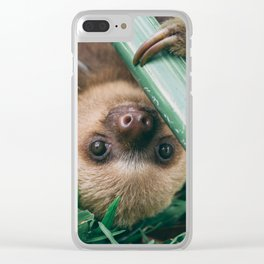 Baby Sloth Playing Clear iPhone Case
