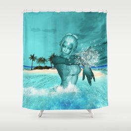 In the ocean in the night Shower Curtain