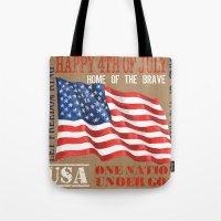 patriotic Tote Bags featuring Patriotic Text by Debbie DeWitt