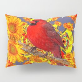 GOLDEN SUNFLOWERS RED CARDINAL GREY ART Pillow Sham