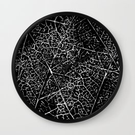 Black and white leaf pattern Wall Clock