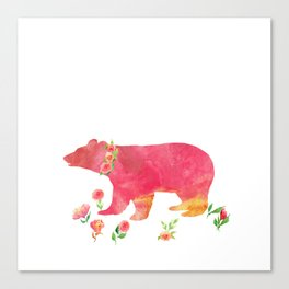Bear with flowers - Animals Watercolor illustration Canvas Print