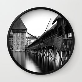 The Chapel Bridge Monochrome Wall Clock